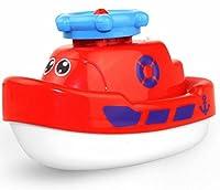 幼児期のゲーム 赤ちゃん電動水ジェット回転バスタブ小さなタコおもちゃ赤ちゃんバスおもちゃ(赤)