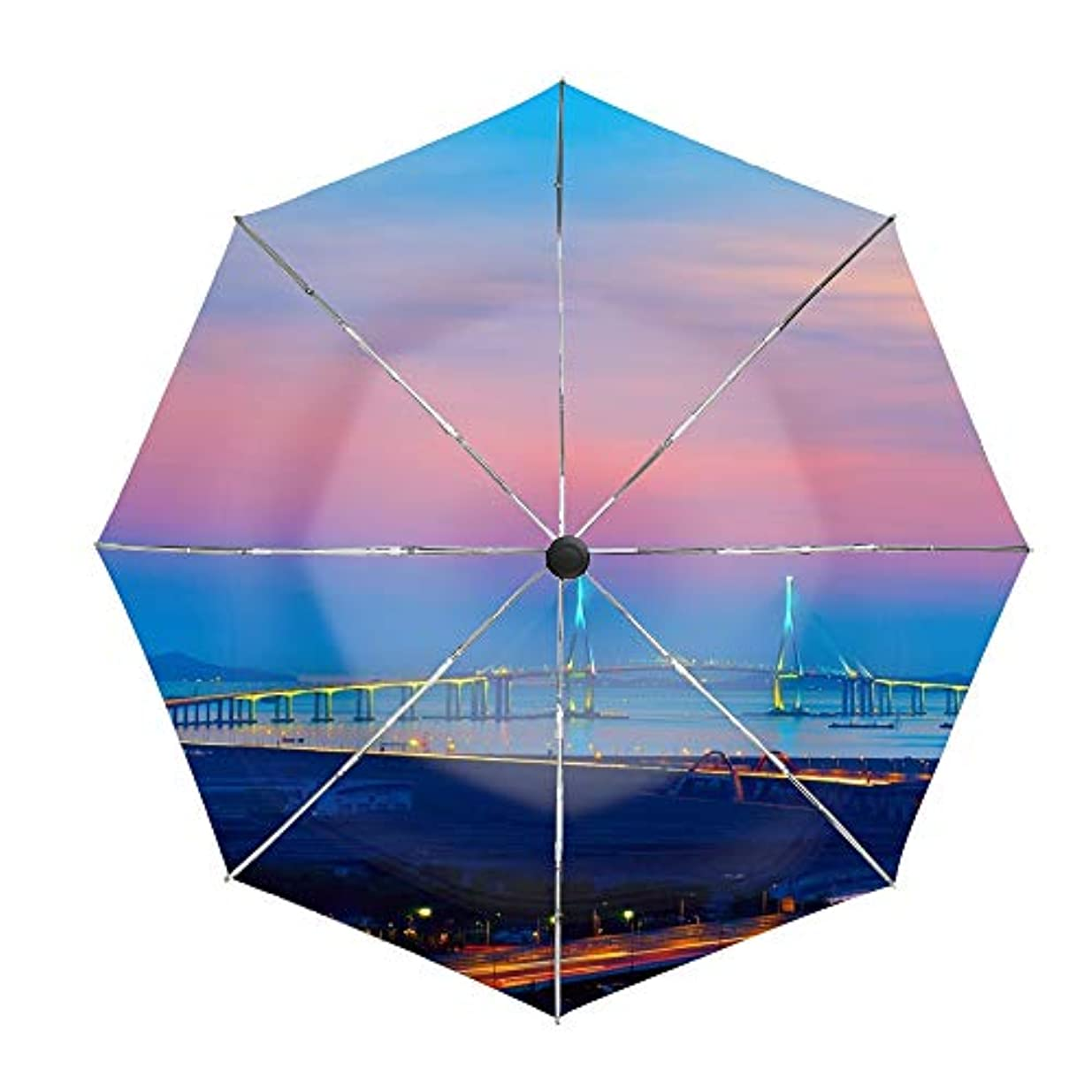 慢なしないアルファベット順日傘 折りたたみ傘 仁川大橋 晴雨兼用 UVカット率99.9% 耐風撥水 二重生地 紫外線遮蔽 レディース 日焼け対策