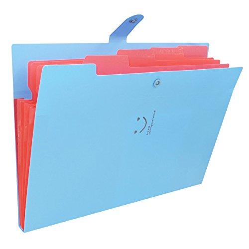 Tech 個別ファイルフォルダA4 5ポケット ドキュメントファイル じゃばら アコーディオン 書類 収納 かわいい笑顔模様 スナップ式 防水 青+赤