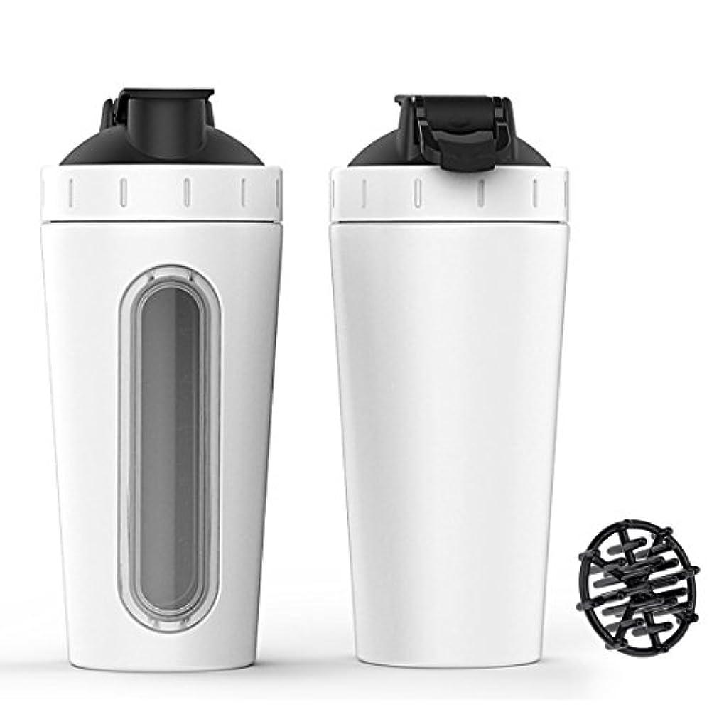 ステンレススチール スポーツウォーターボトル プロテインミルクセーキーシェーカーカップ 可視ウィンドウ ホワイト