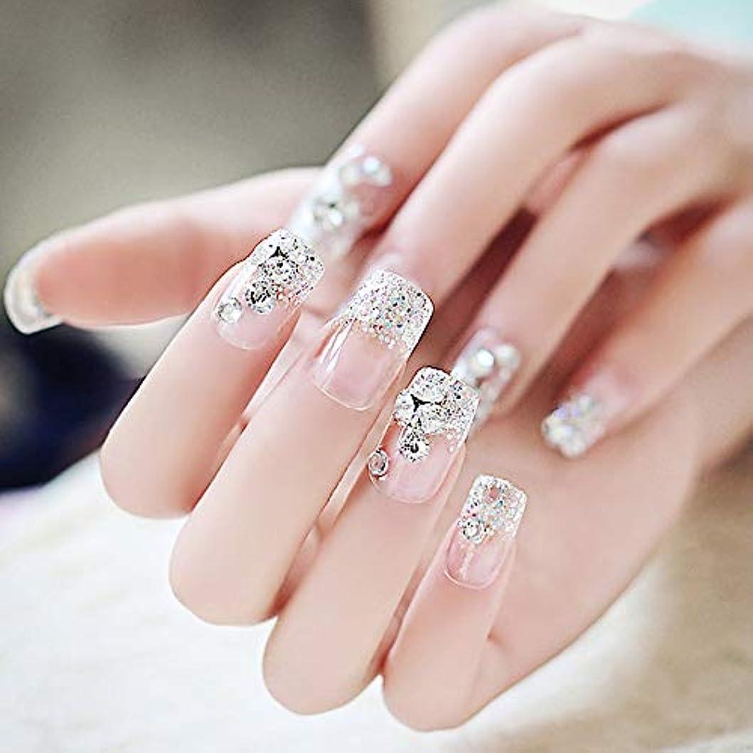 縫い目菊禁じるXUTXZKA ラインストーンの結婚式の偽の釘スクエアフルカバーを輝く透明ファッション偽の釘の花嫁