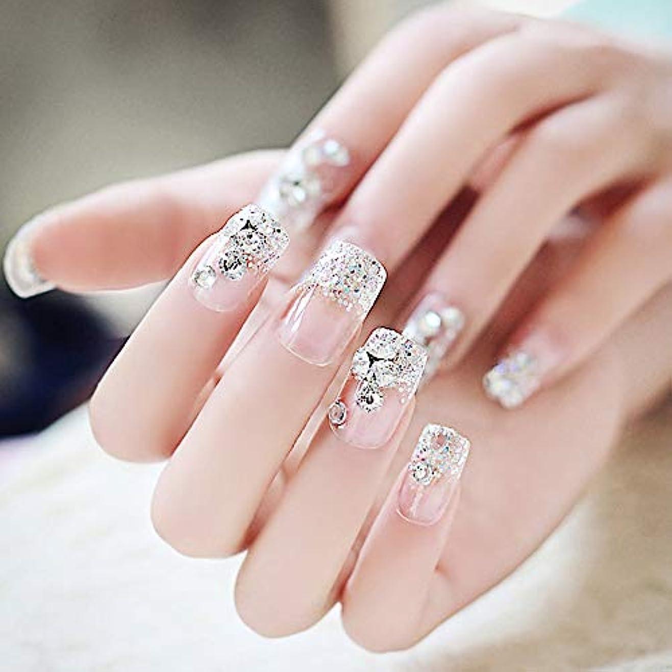XUTXZKA ラインストーンの結婚式の偽の釘スクエアフルカバーを輝く透明ファッション偽の釘の花嫁