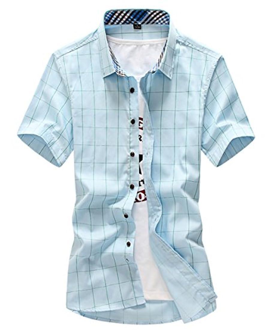 港衝突コース腫瘍[スゴフィ]SGFY  メンズ ポロシャツ チェック柄 カジュアル シャツ ゴルフ ウェア (XL, ライトブルー)