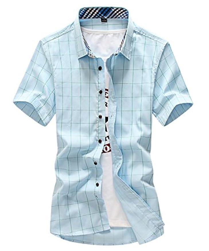 アクティブなだめる雪だるまを作る[スゴフィ]SGFY  メンズ ポロシャツ チェック柄 カジュアル シャツ ゴルフ ウェア (3XL, ライトブルー)