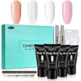 TOMICCA Polygel Nail Kit UV Builder Gel Nail Extension Starter Kit Set -30g 4 Colors Acrylic Gel Kit, Nail File, Nail Tips
