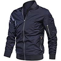 TACVASEN Men's Jacket-Lightweight Casual Spring Fall Flight Bomber Zip Pockets Coat Outwear