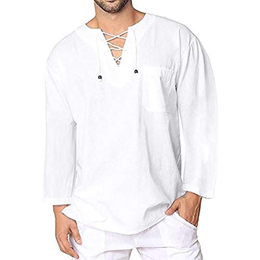 検索エンジンマーケティングパワー予測Wyntroy メンズシャツ この夏人気のシャツ スウェット 綿麻服 薄手 男性 ゆったり トップス 春夏シャツ カットソー レジャーシャツ 無地 Vネックボタン 長袖 Tシャツ 友達へのプレゼント ファッショントップ サマートップ