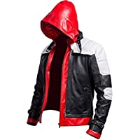 Men's Batman Arkham Knight Red Hooded Gaming Real Leather Jacket