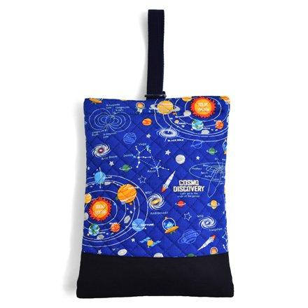 シューズケース(キルティング) 上履き入れ 靴袋 太陽系惑星とコスモプラネタリウム(ロイヤルブルー) N3240000