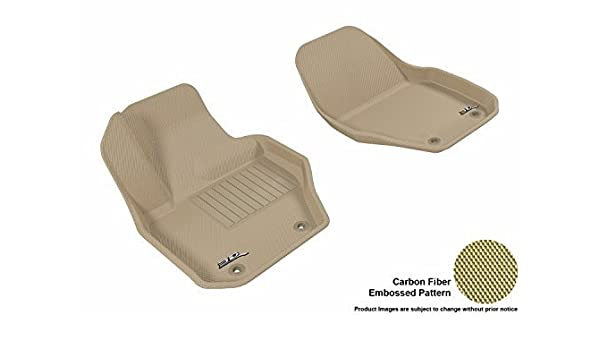 Tan 3D MAXpider Front Row Custom Fit All-Weather Floor Mat for Select Ford Models Kagu Rubber L1FR06611502