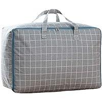 2PCSコットンリネン収納袋灰色のストライプ模様のパターンポータブル折りたたみ防水キルトの羽毛布団の衣類ストレージ移動仕上げ大型荷物パッキングバッグ2個/セット (色 : B, サイズ さいず : 60 * 45 * 28cm)