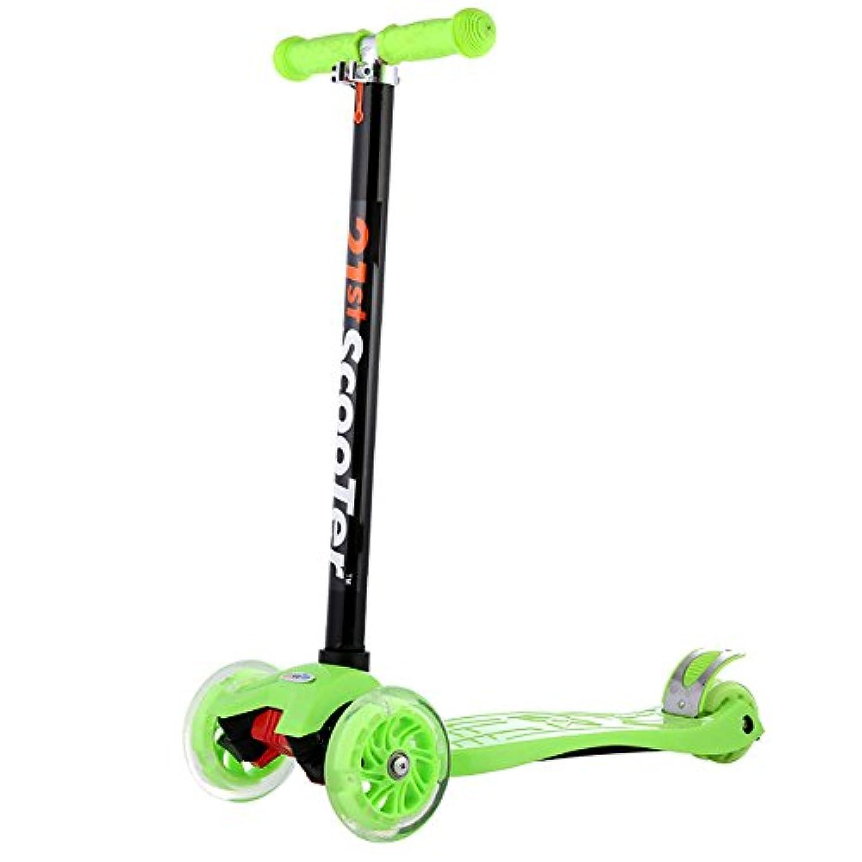 キックスクーター 子供のためのスクーター、小型子供のスクーター3の車輪の子供のための点滅車輪が付いているマイクロ蹴りのスクーターのピンク (色 : 緑)
