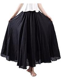 KMAZN レディース 森ガール エレガント 純色 ゴム ウエスト 着痩せ 綿混 マキシ スカート 着回し 幅広 フレア ロングスカート 全18色