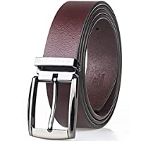 Men's Belt Genuine Leather Reversible Belt With Anti-Scratch Pin Buckle Mens Casual Jeans Belt (Color : Brown, Size : 115cm)