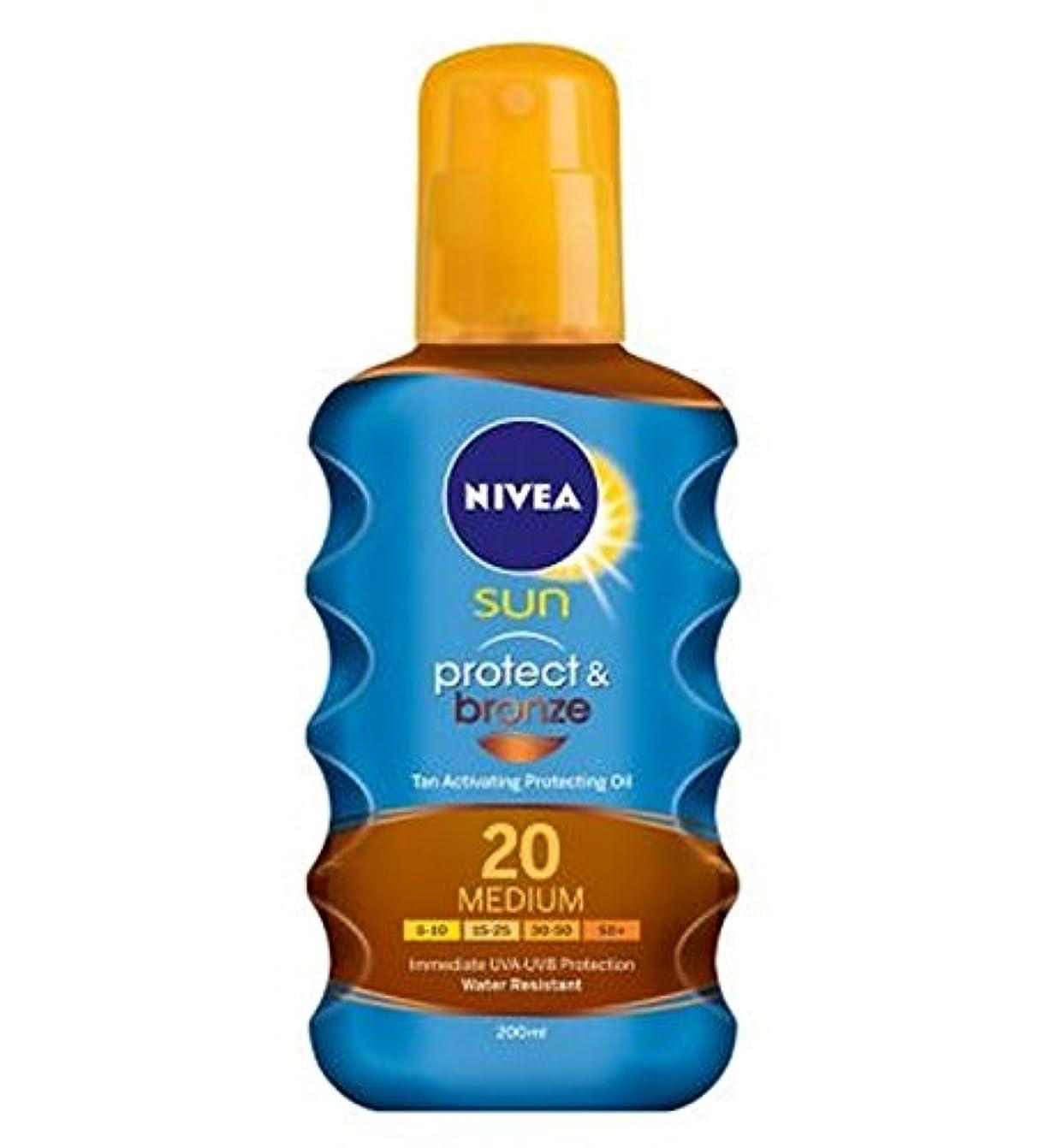 避難軍隊散文ニベアの日は、油媒体20 200ミリリットルを保護する日焼け活性化を保護&ブロンズ (Nivea) (x2) - NIVEA SUN Protect & Bronze Tan Activating Protecting...