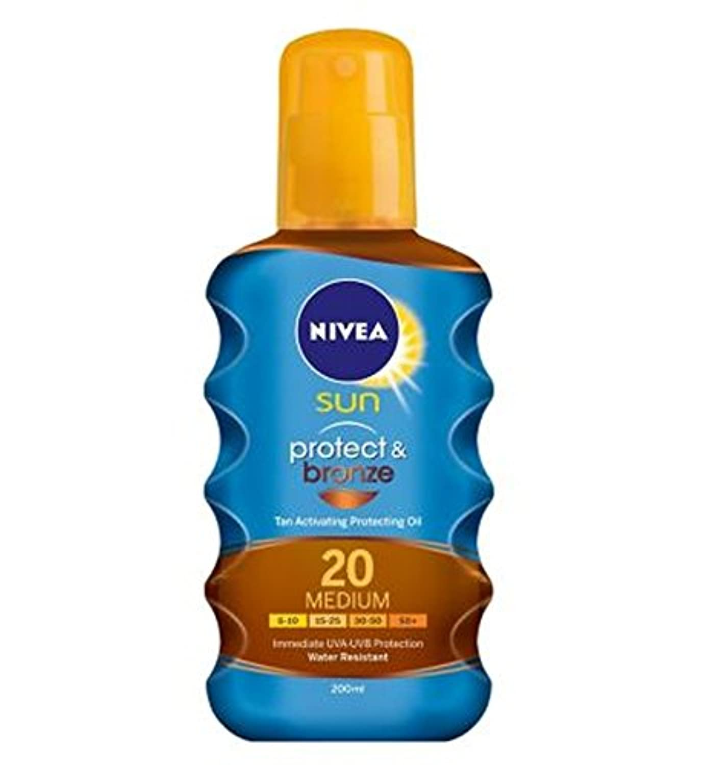 NIVEA SUN Protect & Bronze Tan Activating Protecting Oil 20 Medium 200ml - ニベアの日は、油媒体20 200ミリリットルを保護する日焼け活性化を保護...