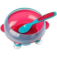 B Blesiya 全2色 ベビー食器 幼児食器 ボウル 滑り止め 吸盤ボウル 吸盤付き 訓練 - 赤