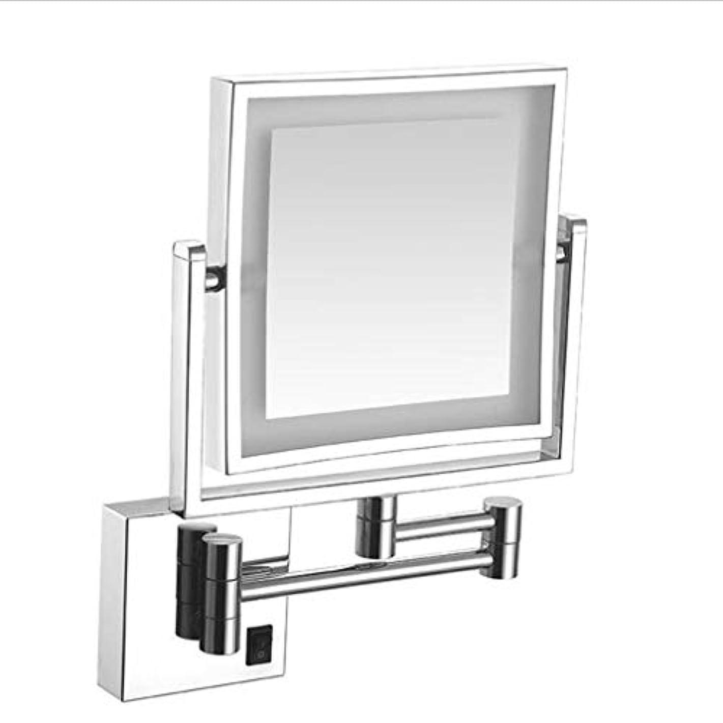区画商人スワップCUUYQ 化粧鏡LEDライト、両面 3倍拡大 けメイクミラー 360 °回転 壁掛け式 伸縮可能折り 化粧ミラー 8インチハードワイヤード接続,Silver