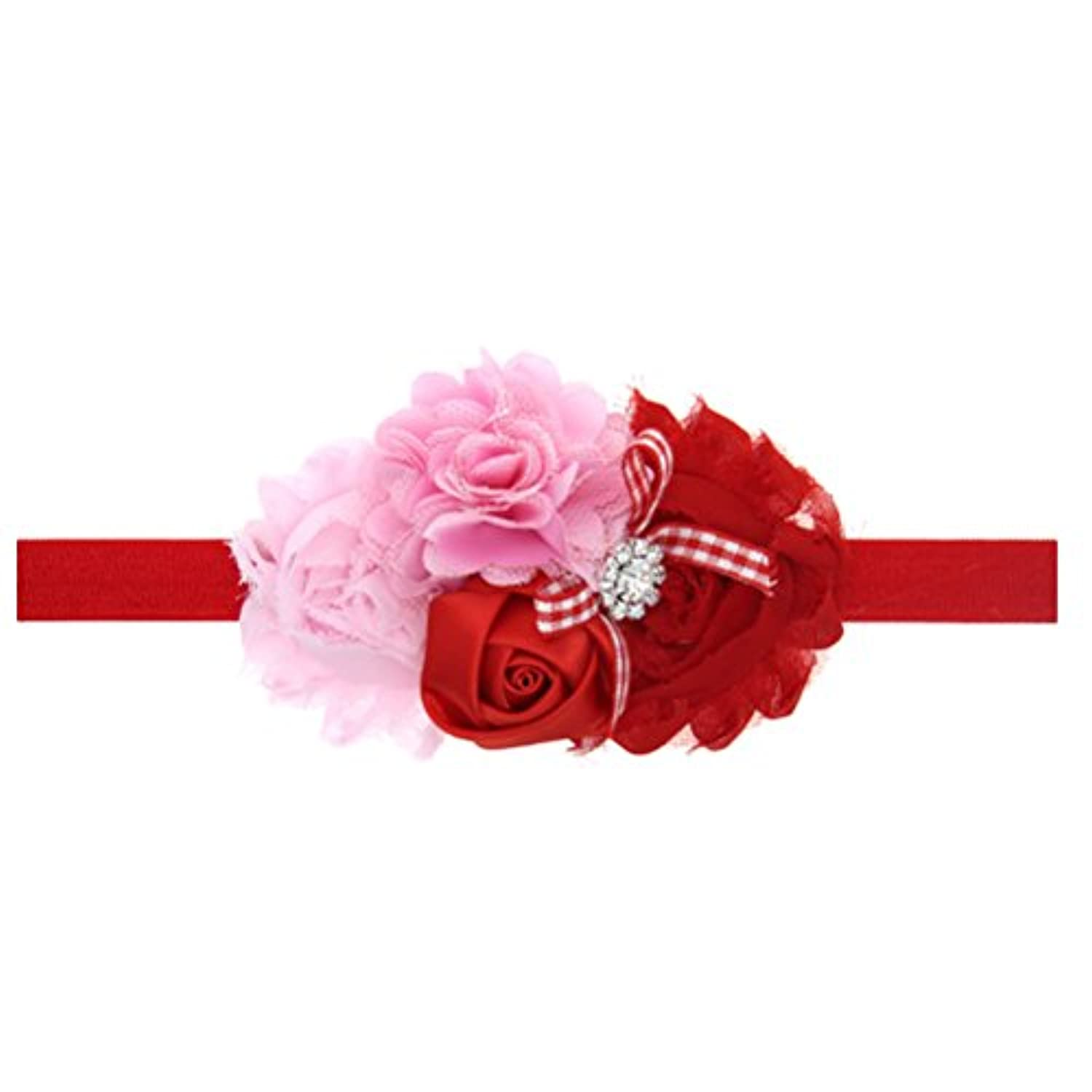 Zhhlaixing ベビー小物 Christmas Baby Girls Kids Embroidery Sequins Bowknot Headband Hairband Flower Hair Accessories