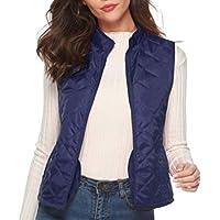 Women's Lightweight Quilted Zip Vest Stand Collar Gilet Padded Outwear Sleeveless Vest
