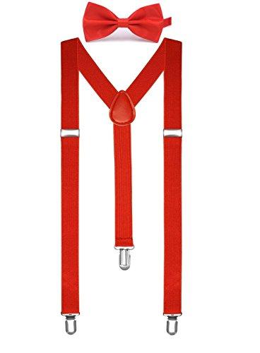 BOOLAVARDソリッドカラーメンズサスペンダーボウタイセットクリップY字型調節可能なブレース