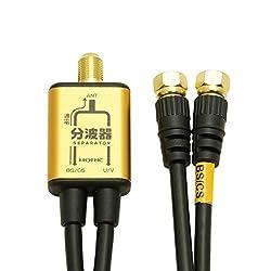 HORIC アンテナ分波器 BS CS 地デジ対応 ケーブル一体型(S-4C-FB) 50cm ゴールド AP-SP011GD
