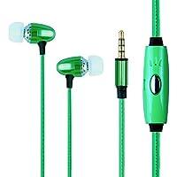 LEDライト付き高音質 アルミ ヘッドホン マイク 音楽メロディーに応じてフルLED点滅3.5mmプラグ ステレオジャックデバイス 通話 音楽 スマホIn-ear earphone (绿)