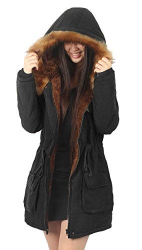 iLoveSIA (アイラブシア) 裏ボア 中綿コート モッズコート ミリタリーコート 冬服 黒 LL「タグXL」