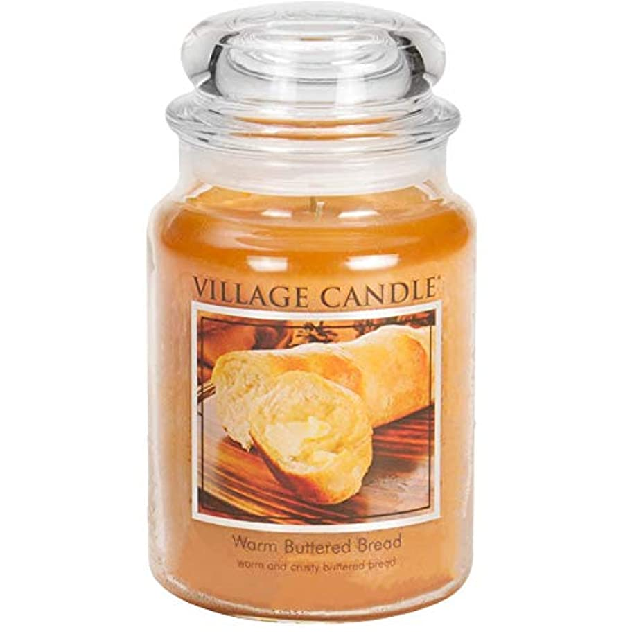 残り物無知最大のVillage Candle - Large Jar - Warm Buttered Bread (Orange) - Double Wick by Village Candle
