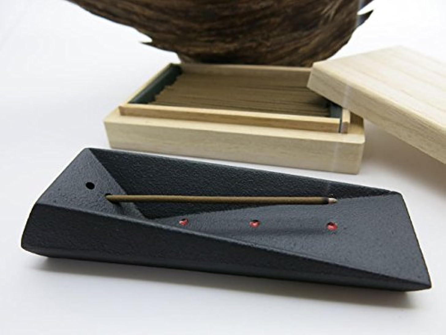 お願いします手紙を書く驚くべき【梅栄堂謹製】伽羅お香と南部鉄器香立てセット「KYARA」