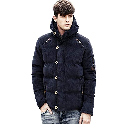 AMBLY メンズ ファッション 冬 服 カジュアル ダウン ジャケット アウター フード 付き 防寒着 上着 3 色 (L, ネイビー)