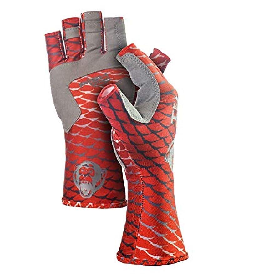 (Large, Redfish) - Fish Monkey Half Finger guide UV Sun Glove