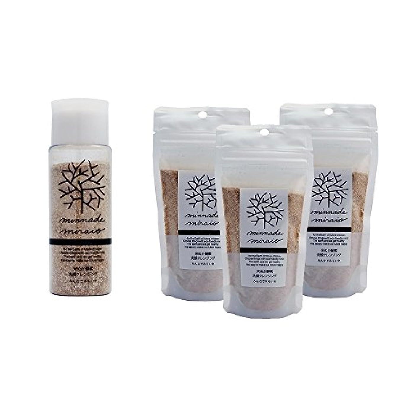 春巻き取り許容できるみんなでみらいを 100%無添加 米ぬか酵素洗顔クレンジング 容器入りと詰替え3パックのセット