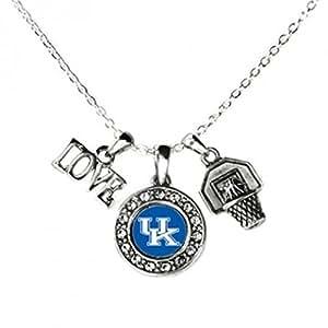 Kentucky WildcatsマルチチャームLove Basketballブルーシルバーネックレスjewelry-ukバスケットボールネックレス