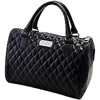 Chinatera Women Leather Handbags Diamond Lattice Black Quilted Pillow Bags Vintage Shoulder Messenger Bag (Black)