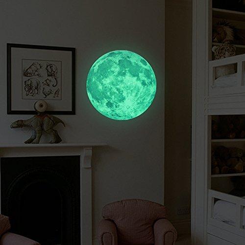 VANCORE 蓄光 ウォール ステッカー 月 宇宙 蛍光シール 直径50c...