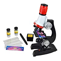 Fairyjp 子供用顕微鏡セット 初心者用顕微鏡 マイクロスコープ LED照明付き 小学生科学実験知恵玩具 小学校向き 自由研究/生物研究/実験/学習 倍率切り替え可能(100X、400X、1200Xの拡大倍率) 科学おもちゃ 知恵玩具