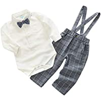Mornyray Baby Boy 2Pcs Gentle Outfit Suit Bowtie Bodysuit Suspender Pants Set
