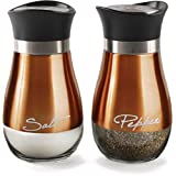 Circleware Cafe Contempo Elegant Glass Salt and Pepper Shakers Dispenser, Clear Bottom Jar Bottle Container with Stainless Steel Top, Perfect for Himalayan Seasoning Herbs Spices, 4.4 oz, Copper