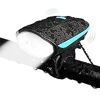 BBKANI 自転車ヘッドライト 自転車前照灯 USB充電式 夜乗り 高輝度懐中電灯 自転車部品 3つの点灯モード  5種類の音声切り替えモード 防水 140分貝のクラクション付き