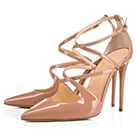 パテントレザーのスティレットパンプス、ハイヒールの尖ったアンクルストラップバックルコートの靴ドレスパンプス基本的な靴つま先滑り止めパーティー宴会結婚式の女性の靴,Beige,43