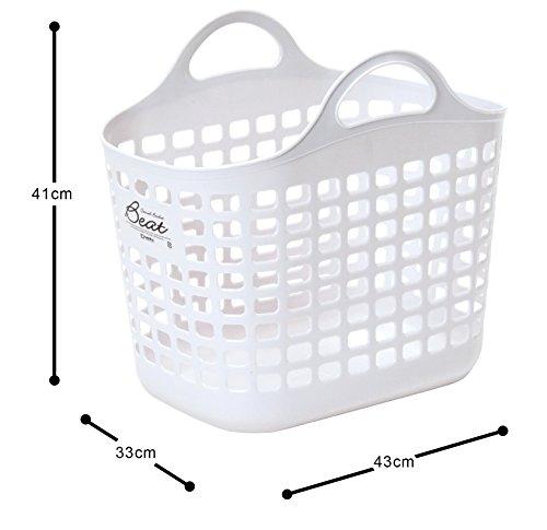 サンコープラスチック 日本製 ランドリーバスケット ビート バスケット No.1 ホワイト