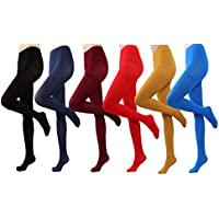 Women's Semi Opaque Solid Color Soft Footed Pantyhose Tights 2 Pack …