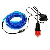 Liebeye 柔軟なネオンライト カー EL ワイヤーロープ管 LED 防水党装飾灯 12V コントローラ付き 2M ブルー USBソケット
