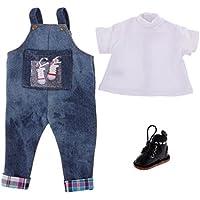 Dovewill 12インチブライスドール対応 ファッション Tシャツ  サスペンダージーンズパンツ  シューズ 靴 セット