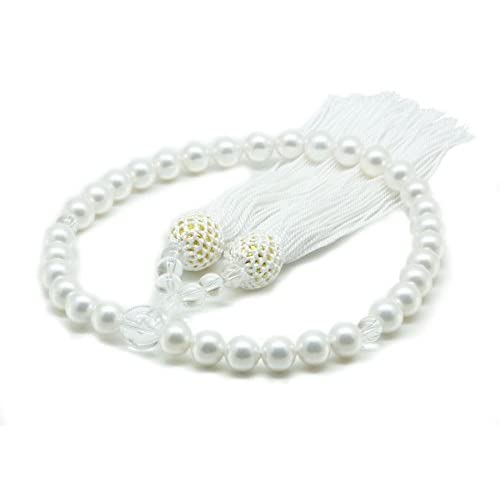 【念珠 数珠】 日本製 国産 天然貝核本貝パール 女性用 花珠貝パールと水晶8mm珠 ホワイト系 携帯に便利な巾着プレゼント