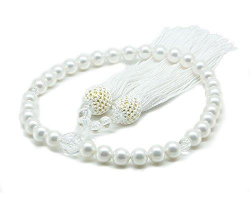 [まつよ 花珠貝パール] 数珠 女性用 8mm 数珠袋セット 天然貝核 水晶 日本製 ホワイト 白