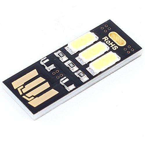 SODIAL(R)ポータブル ミニポケットカードランプ ウォームホワイト 3 LED キーホルダー USBライト