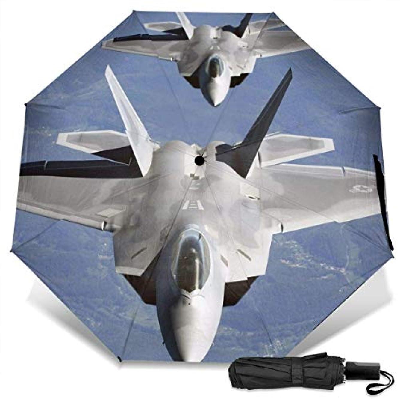 廊下呼び起こす用心するアメリカ空軍F-22ラプターインザスカイ-アメリカ空軍折りたたみ傘 軽量 手動三つ折り傘 日傘 耐風撥水 晴雨兼用 遮光遮熱 紫外線対策 携帯用かさ 出張旅行通勤 女性と男性用 (黒ゴム)