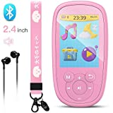 AGPTEK Bluetooth MP3 Player for Kids, 8GB Children Music Player 2.4 Inch HD Screen with Built-in Speaker, 10 Lullabies, FM Radio, Video, Voice Recorder, Expandable Up to 128GB,Pink